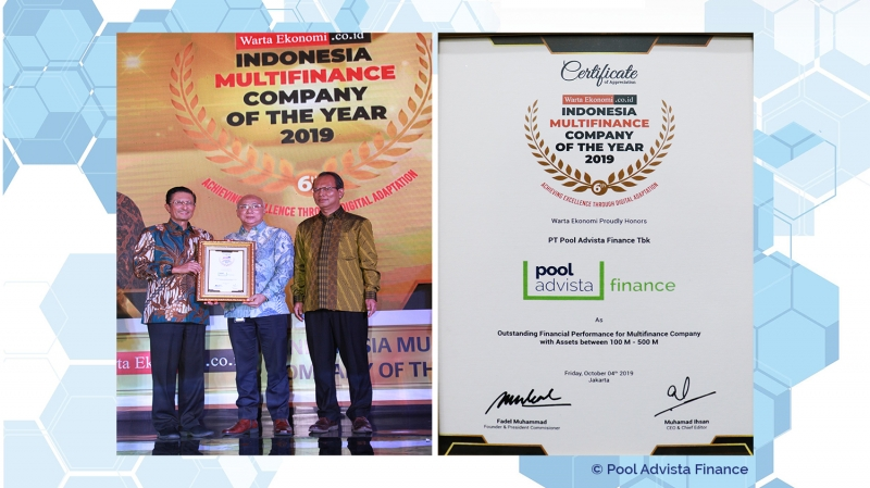 PT Pool Advista Finance Tbk. Mendapatkan Penghargaan Indonesia Multifinance Company of the Year 2019 dari Warta Ekonomi